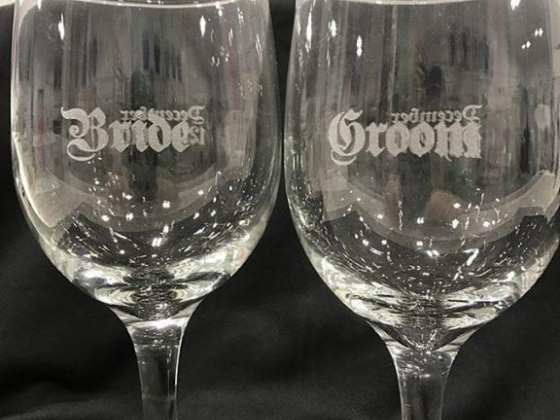 Glass engraving with Lutz Embroidery/Engraving Norfolk, Nebraska